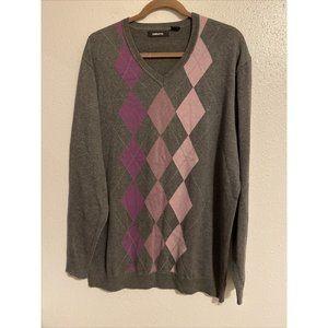 Claiborne Mens Gray Purple Argyle V Neck Sweater L